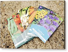 Seed Packs Acrylic Print by Johnny Greig
