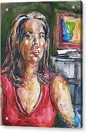 Self Portrait 8 Acrylic Print by Becky Kim