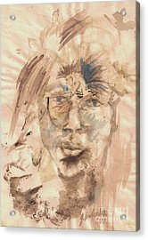 Self Portrait Ink And Beet Acrylic Print by Jamey Balester