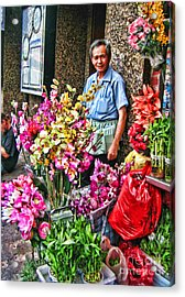 Selling Flowers In Chinatown Acrylic Print by Anne Ferguson