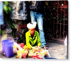 Selling Offerings On Ubud Streets Acrylic Print by Funkpix Photo Hunter