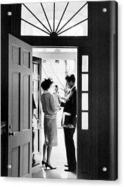 Senator John F. Kennedy Right, Jackie Acrylic Print by Everett