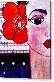 Senorita Con Flor Acrylic Print by Mela Lucia