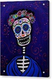 Senorita Frida Acrylic Print by Pristine Cartera Turkus