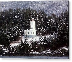 Acrylic Print featuring the photograph Sentinel Island Lighthouse In The Snow by Myrna Bradshaw
