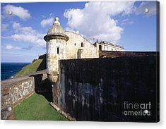 Sentry Post On The Wall In San Cristobal Fort Acrylic Print by George Oze