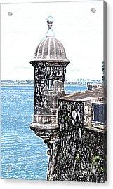 Sentry Tower Castillo San Felipe Del Morro Fortress San Juan Puerto Rico Colored Pencil Acrylic Print by Shawn O'Brien