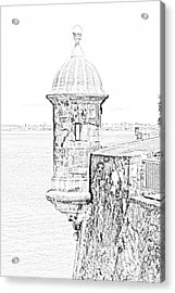 Sentry Tower Castillo San Felipe Del Morro Fortress San Juan Puerto Rico Line Art Black And White Acrylic Print by Shawn O'Brien