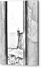 Sentry Tower View Castillo San Felipe Del Morro San Juan Puerto Rico Black And White Line Art Acrylic Print by Shawn O'Brien