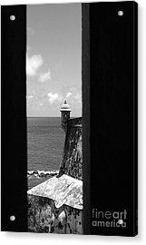 Sentry Tower View Castillo San Felipe Del Morro San Juan Puerto Rico Black And White Acrylic Print by Shawn O'Brien