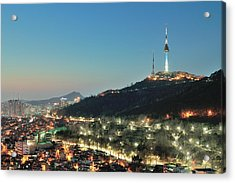Seoul Tower At Night Acrylic Print by Tokism