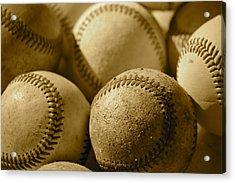 Sepia Baseballs Acrylic Print by Bill Owen