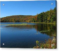 Serene Lake In Fall Acrylic Print by Leontine Vandermeer