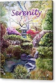 Serenity Acrylic Print by Irina Sztukowski
