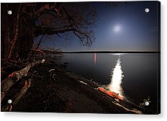 Setting Moon Acrylic Print by Everet Regal