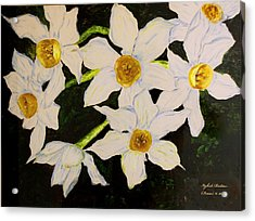 Acrylic Print featuring the painting Seven Daffodils by Itzhak Richter