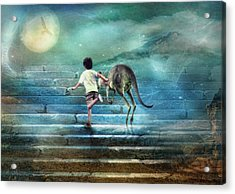 Seven Steps To The Moon Acrylic Print by Trudi Simmonds