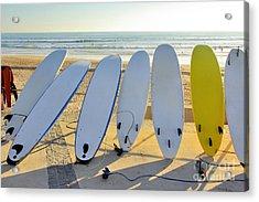 Seven Surfboards Acrylic Print by Carlos Caetano