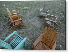 Several Lawn Chairs Scattered Acrylic Print by Joel Sartore