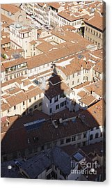 Shadow Of The Duomo On Buildings Of Florence Acrylic Print by Jeremy Woodhouse