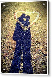 Shadows Of Couple Kissing Over Heart Of Stones Acrylic Print by Daniel MacDonald / www.dmacphoto.com