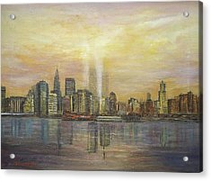 Acrylic Print featuring the painting shadows of the New York towers by Katalin Luczay