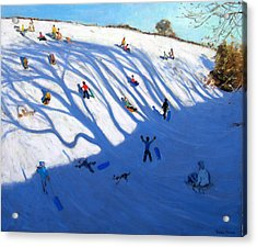Shandows On A Hill Monyash Acrylic Print by Andrew Macara