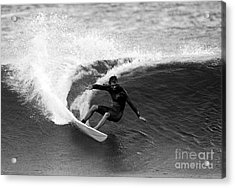 Shane Surf Carving In Black And White Acrylic Print by Paul Topp