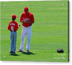 Shane Victorino  Acrylic Print by Carol Christopher