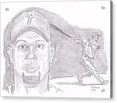Acrylic Print featuring the drawing Shane Victorino- Flying Hawaiian by Chris  DelVecchio