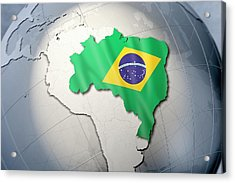 Shape And Ensign Of Brazil On A Globe Acrylic Print by Dieter Spannknebel