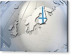 Shape And Ensign Of Finland On A Globe Acrylic Print by Dieter Spannknebel