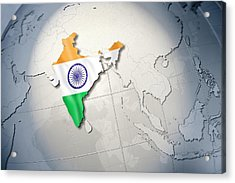 Shape And Ensign Of India On A Globe Acrylic Print by Dieter Spannknebel