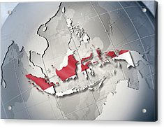 Shape And Ensign Of Indonesia On A Globe Acrylic Print by Dieter Spannknebel