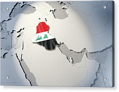 Shape And Ensign Of Iraq On A Globe Acrylic Print by Dieter Spannknebel