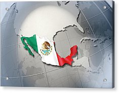 Shape And Ensign Of Mexico On A Globe Acrylic Print by Dieter Spannknebel
