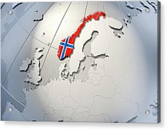 Shape And Ensign Of Norway On A Globe Acrylic Print by Dieter Spannknebel