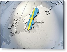 Shape And Ensign Of Sweden On A Globe Acrylic Print by Dieter Spannknebel