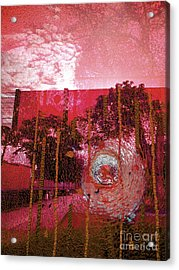 Acrylic Print featuring the photograph Abstract Shattered Glass Red by Andy Prendy