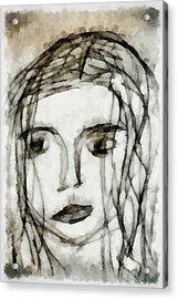 She Sat Alone 2 Acrylic Print by Angelina Vick