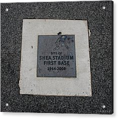 Shea Stadium First Base Acrylic Print by Rob Hans