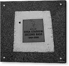 Shea Stadium Second Base Acrylic Print by Rob Hans