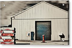 Shed With Bollard And Pallets Acrylic Print by Harry Neelam