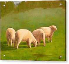 Acrylic Print featuring the painting Sheep Shapes by Joe Bergholm