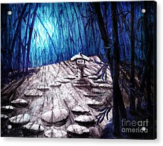 Shinto Lantern In Stark Moonlight Acrylic Print