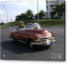 Shiny Cab At Varadero Beach Acrylic Print by Laurel Fredericks
