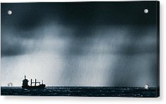 Ship At Sea Caught In Stormy Weather Acrylic Print by Geoff Tompkinson