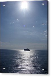 Ship In The Sea Acrylic Print by Charles Covington