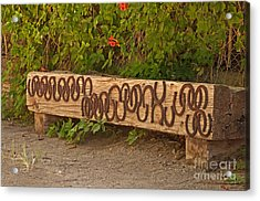 Shoes On The Bench Acrylic Print by Bob and Nancy Kendrick