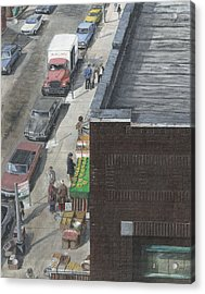Acrylic Print featuring the painting shopping bklyn ny 1970S by Stuart B Yaeger